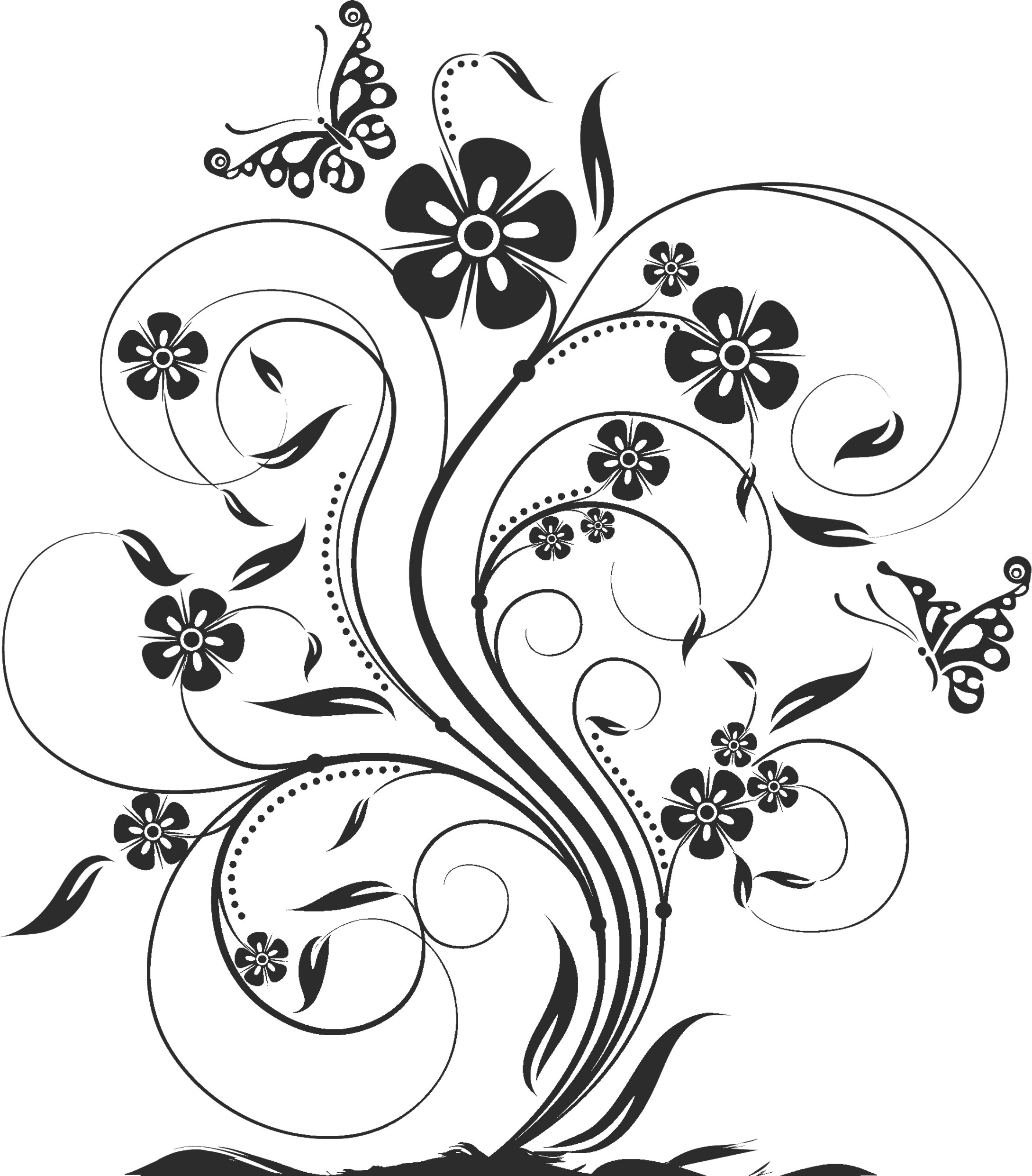 花のイラスト・フリー素材/白黒・モノクロno.483『白黒・茎葉・蝶』