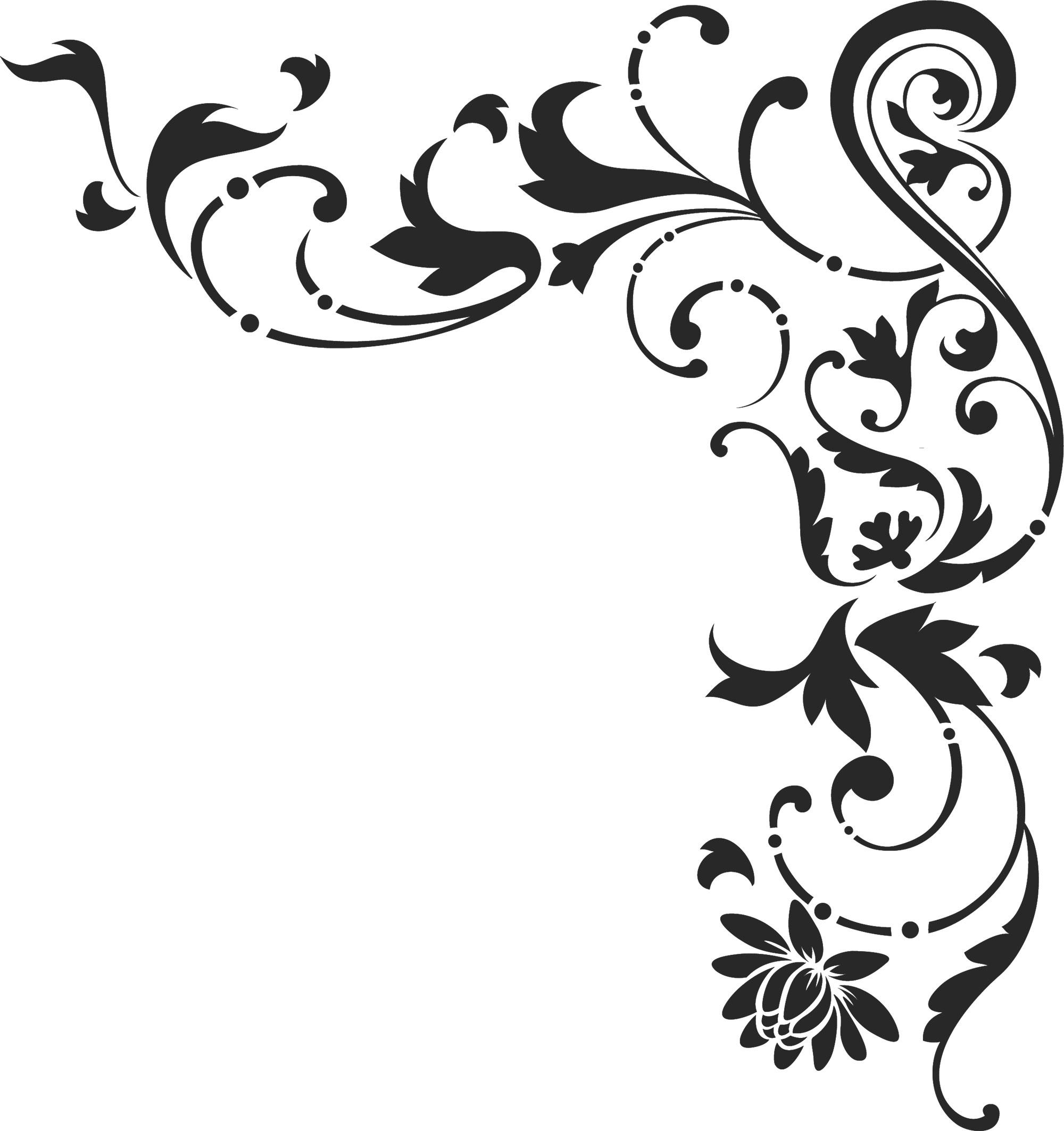 白黒・モノクロの花のイラスト・フリー素材/ライン線・コーナー用no.877