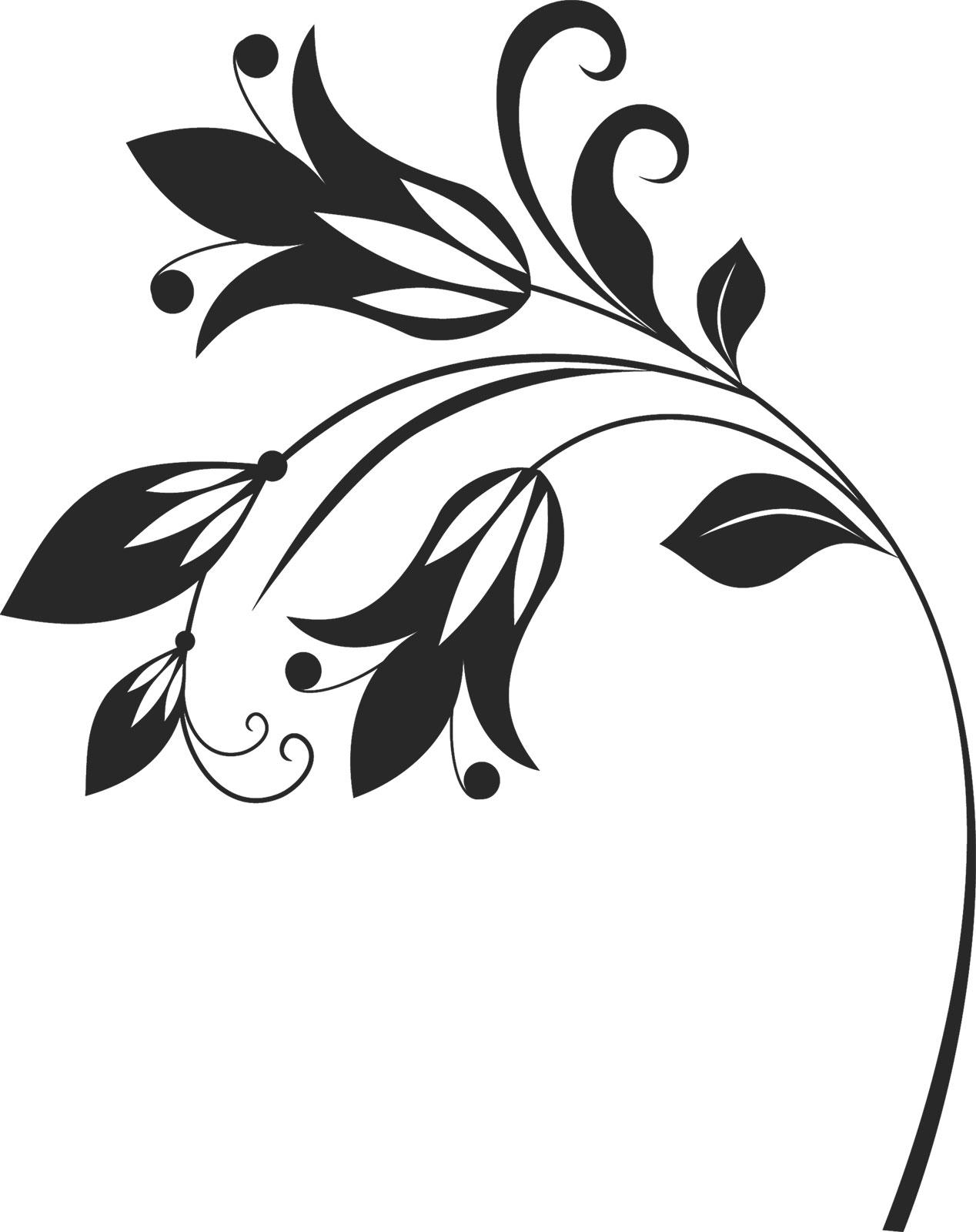 花のイラスト・フリー素材/白黒・モノクロNo.534『白黒・茎葉 ...