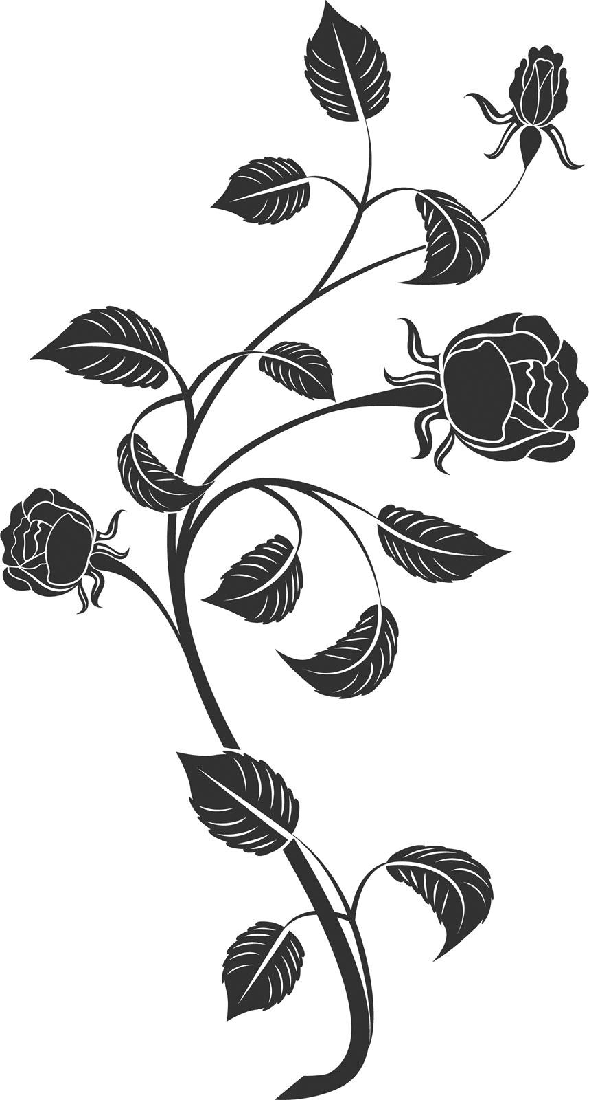 花のイラストフリー素材白黒モノクロno541白黒バラ茎葉