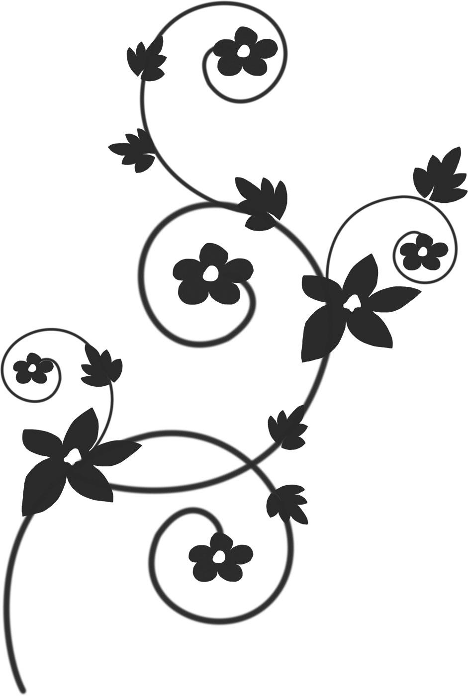 花のイラスト・フリー素材/白黒・モノクロno.553『白黒・蔓葉・内巻き』