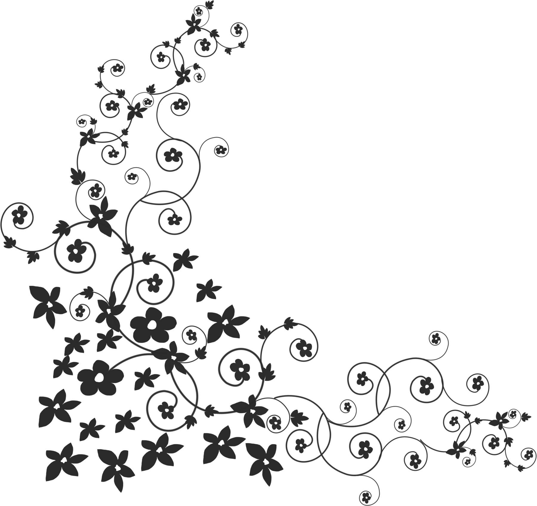 白黒・モノクロの花のイラスト・フリー素材/ライン線・コーナー用no