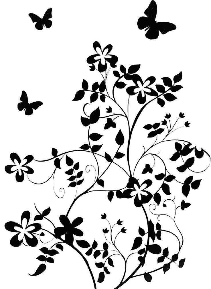 花のイラストフリー素材白黒モノクロno557白黒茎葉蝶