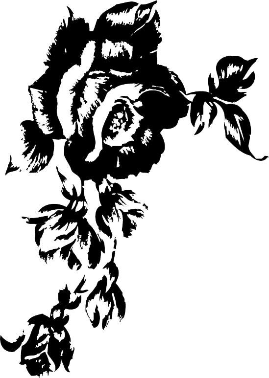 花のイラストフリー素材白黒モノクロno171白黒バラリアル