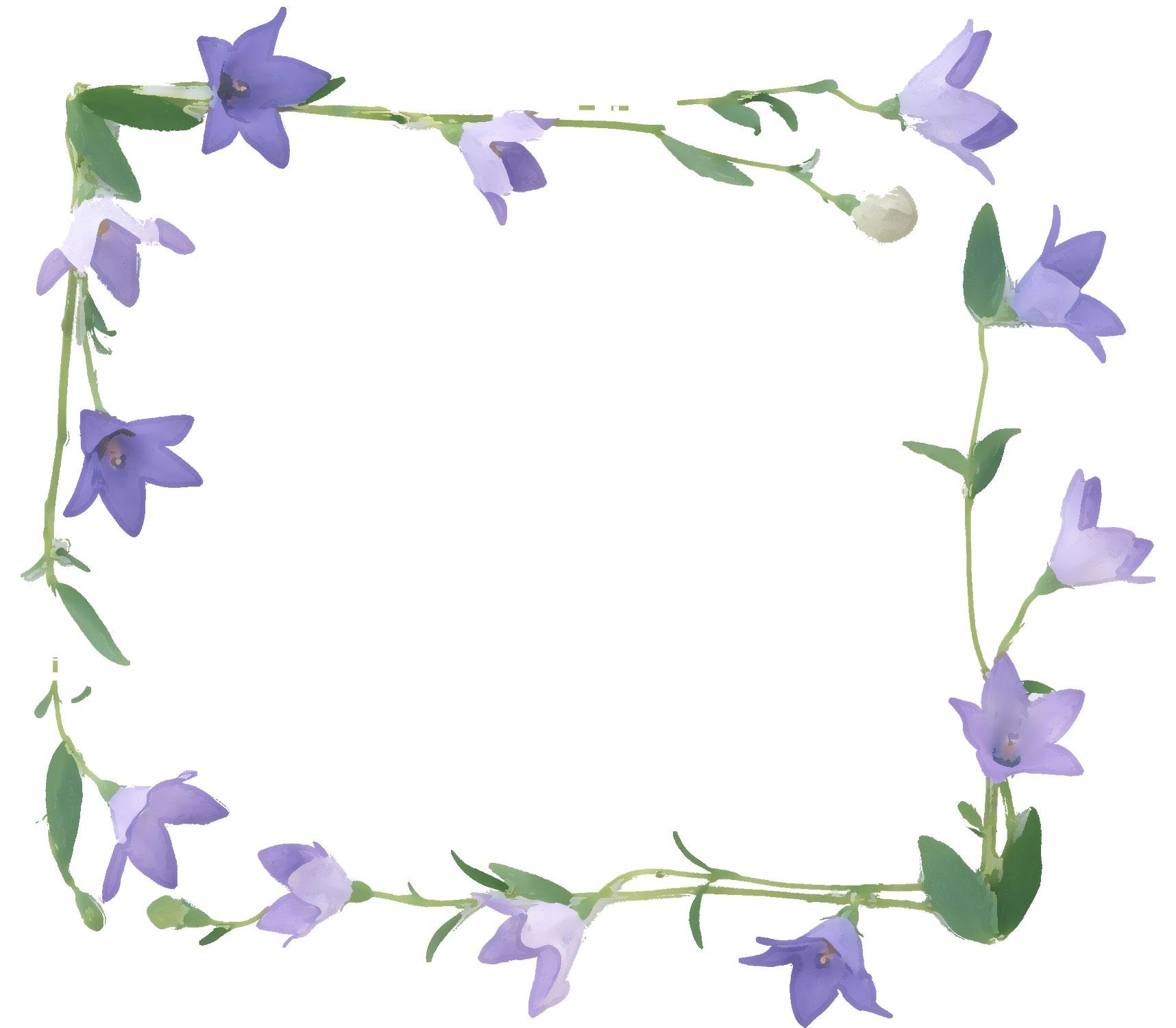 花のイラストフリー素材フレーム枠no579紫桔梗りんどう葉