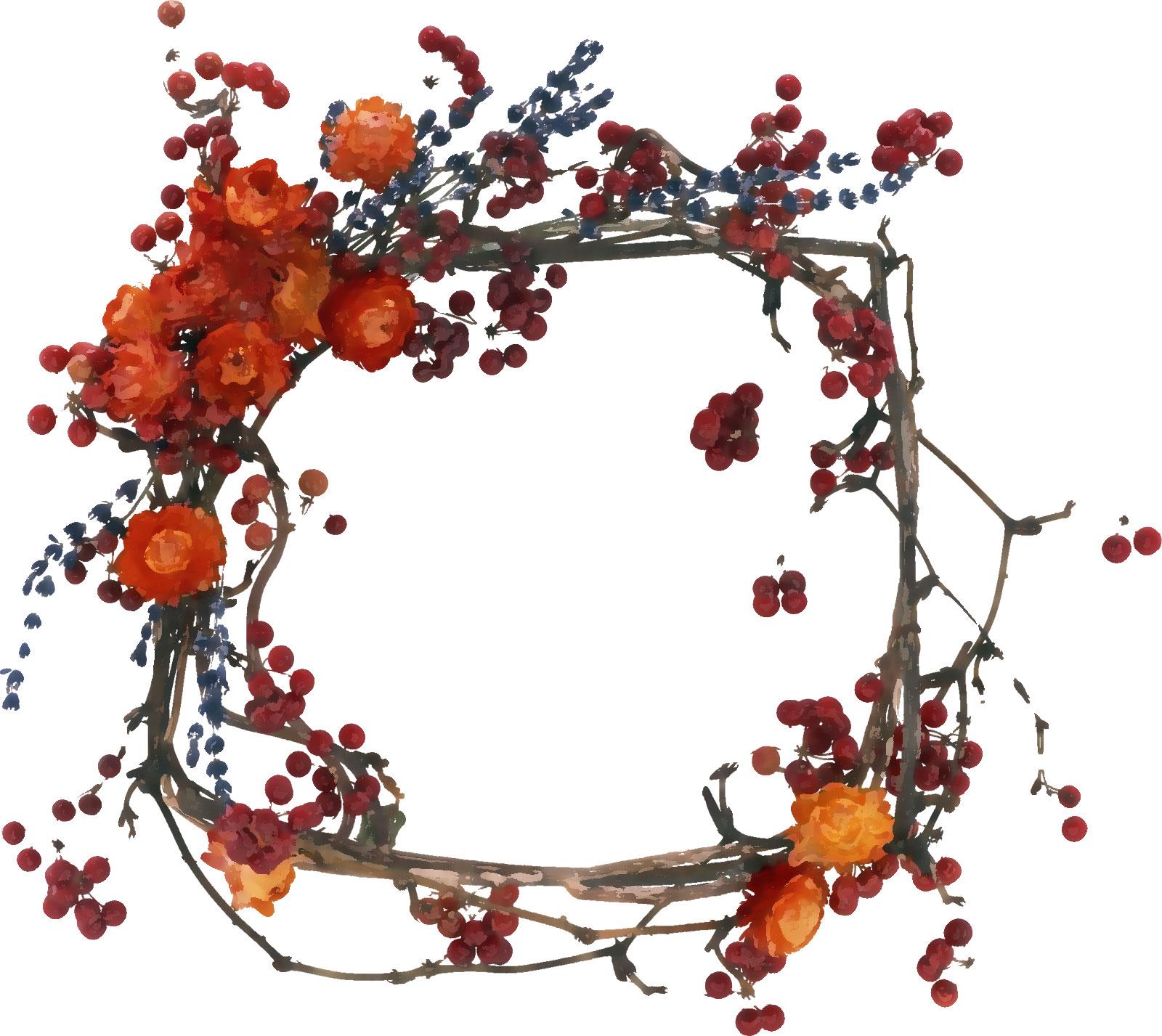 赤い花のイラストフリー素材no578ドライフラワー赤枝