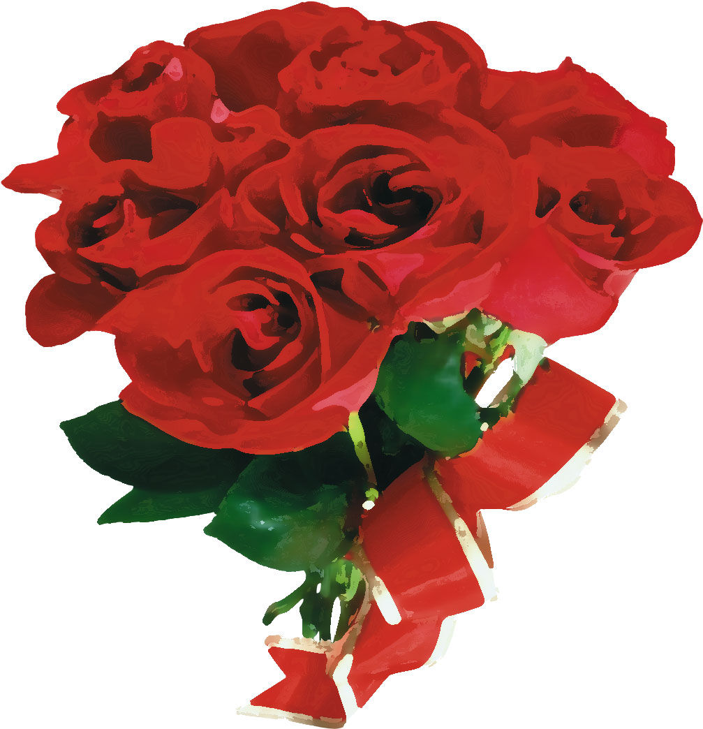 赤い花のイラストフリー素材no463バラの花束リボン赤