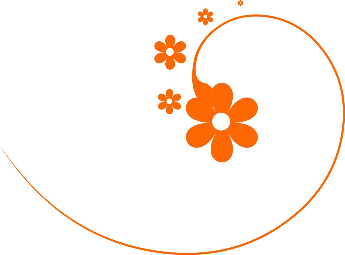 ポップでかわいい花のイラストフリー素材no114オレンジ大小