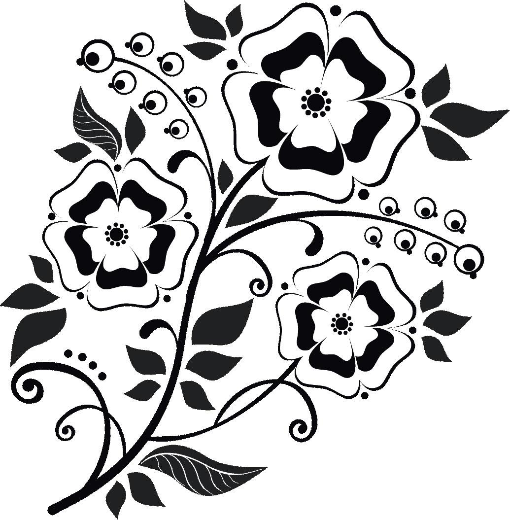 かわいいポップな花のイラスト『白黒・モノクロ』/無料のフリー素材集
