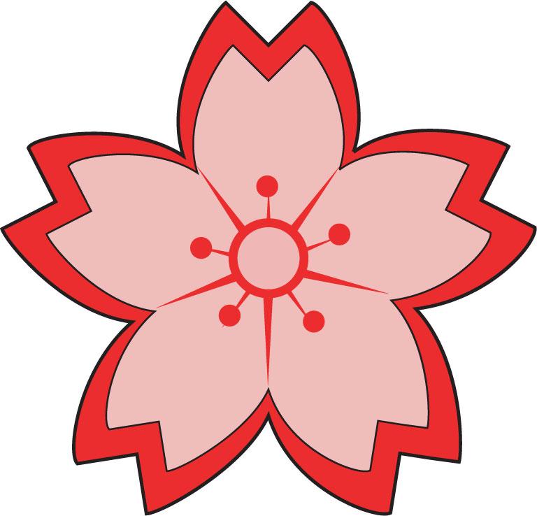 サクラのイラスト見本-桜アイコン・赤とピンク