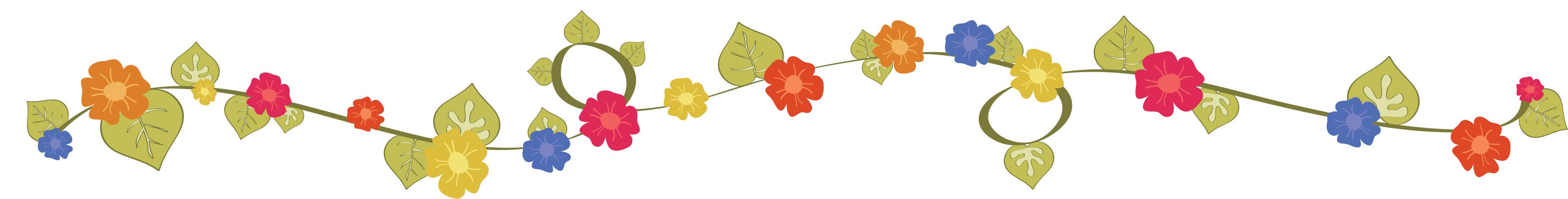 花のイラスト・フリー素材/フレーム枠no.031『赤青黄・葉・つる』