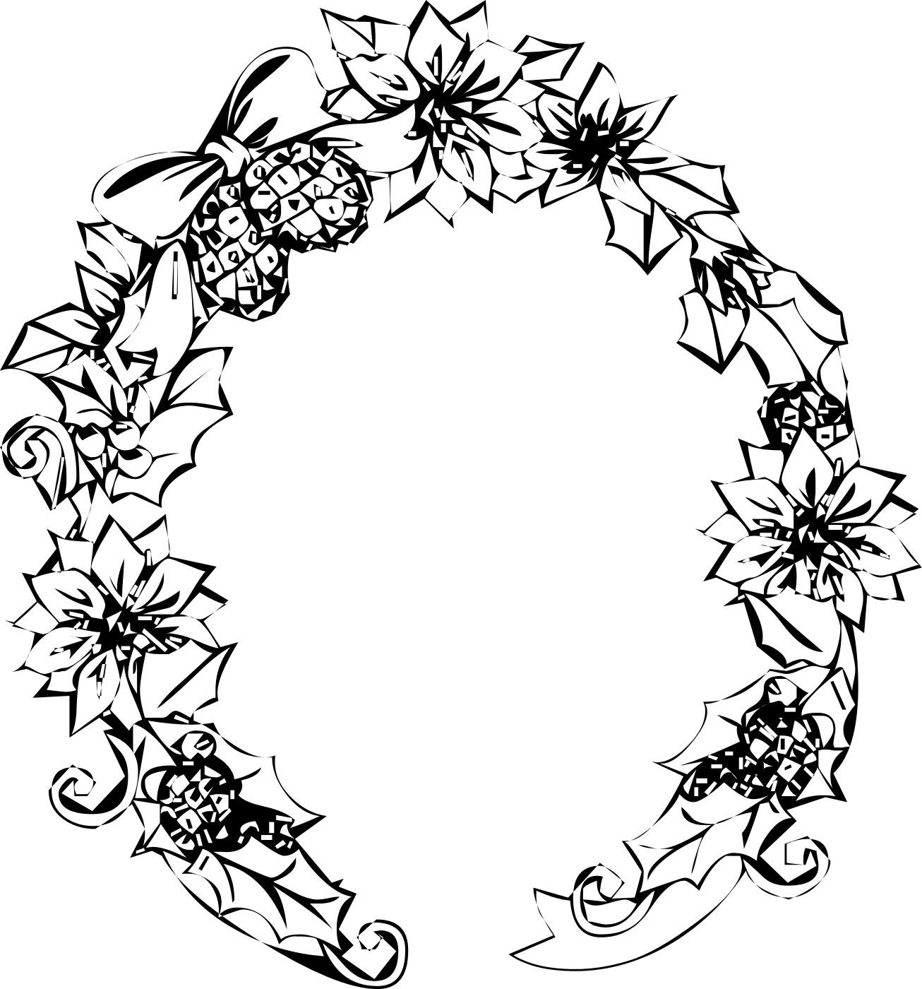 花のイラスト・フリー素材/フレーム枠no.206『白黒・クリスマスリース』