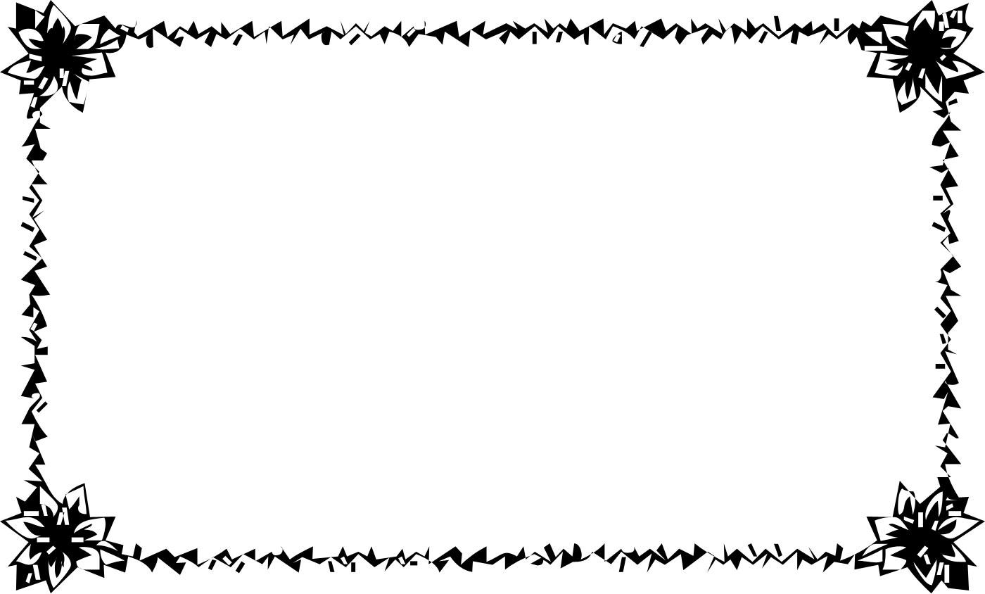 花のイラスト・フリー素材/フレーム枠no.009『白黒・切り絵風』