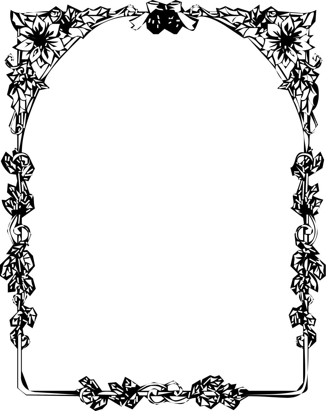 白黒・モノクロの花のイラスト『フレーム枠』/無料のフリー素材集【百花