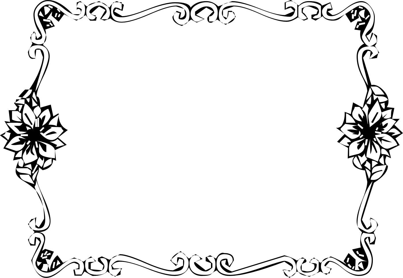 花のイラスト・フリー素材/フレーム枠no.011『白黒・金属』