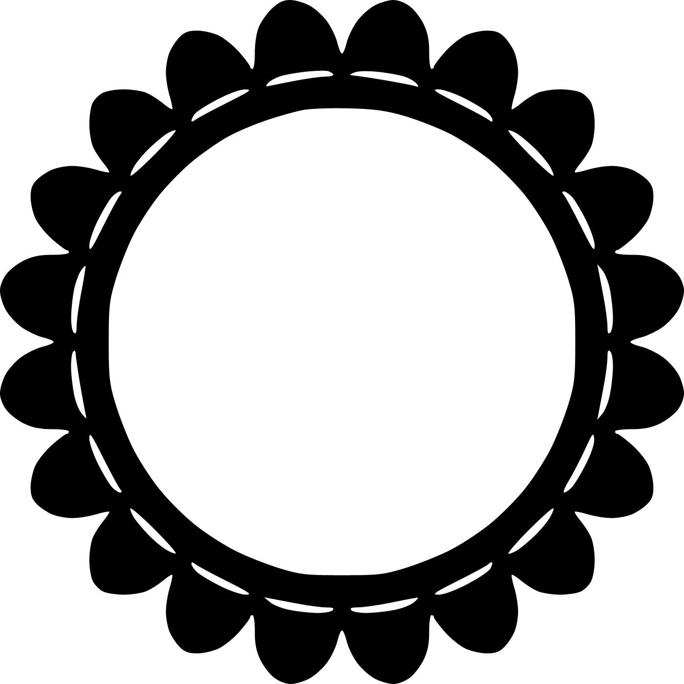 花のフレーム枠イラスト-白黒