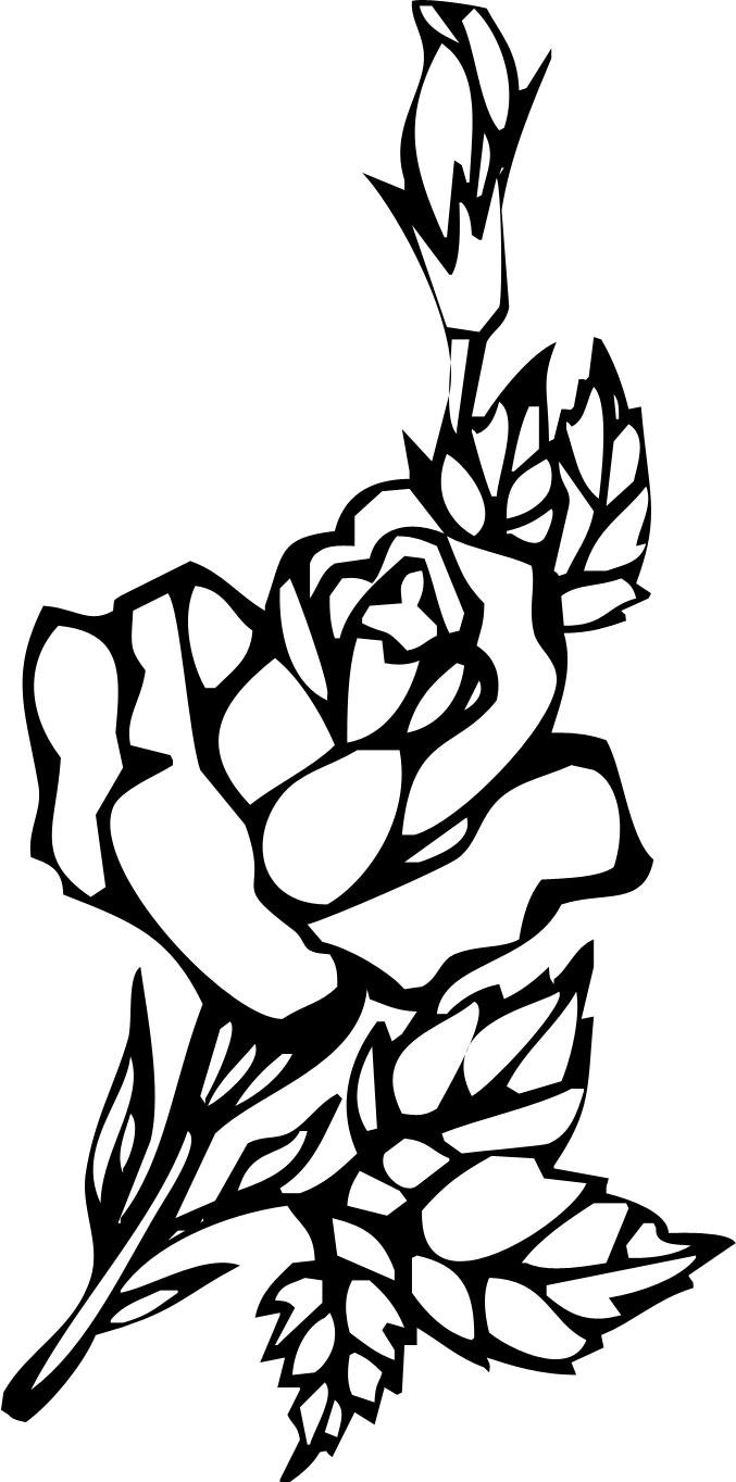 花のイラスト フリー素材 白黒 モノクロno 131 白黒 切り絵風