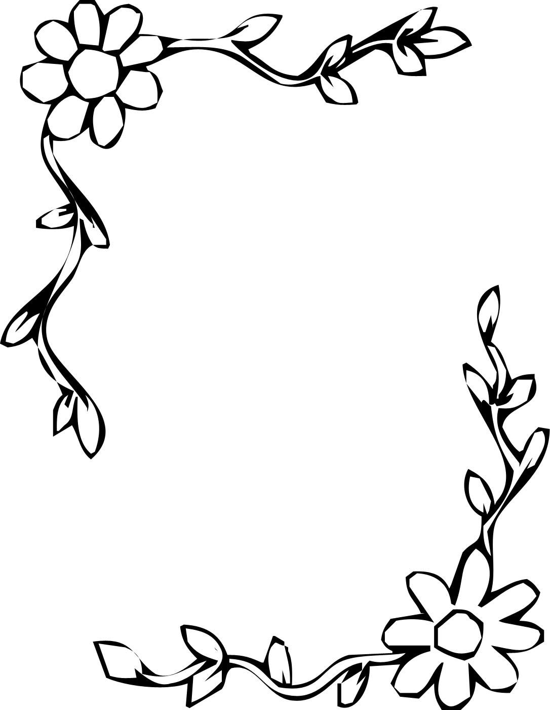 花のイラスト・フリー素材/フレーム枠no.017『白黒・コーナー』