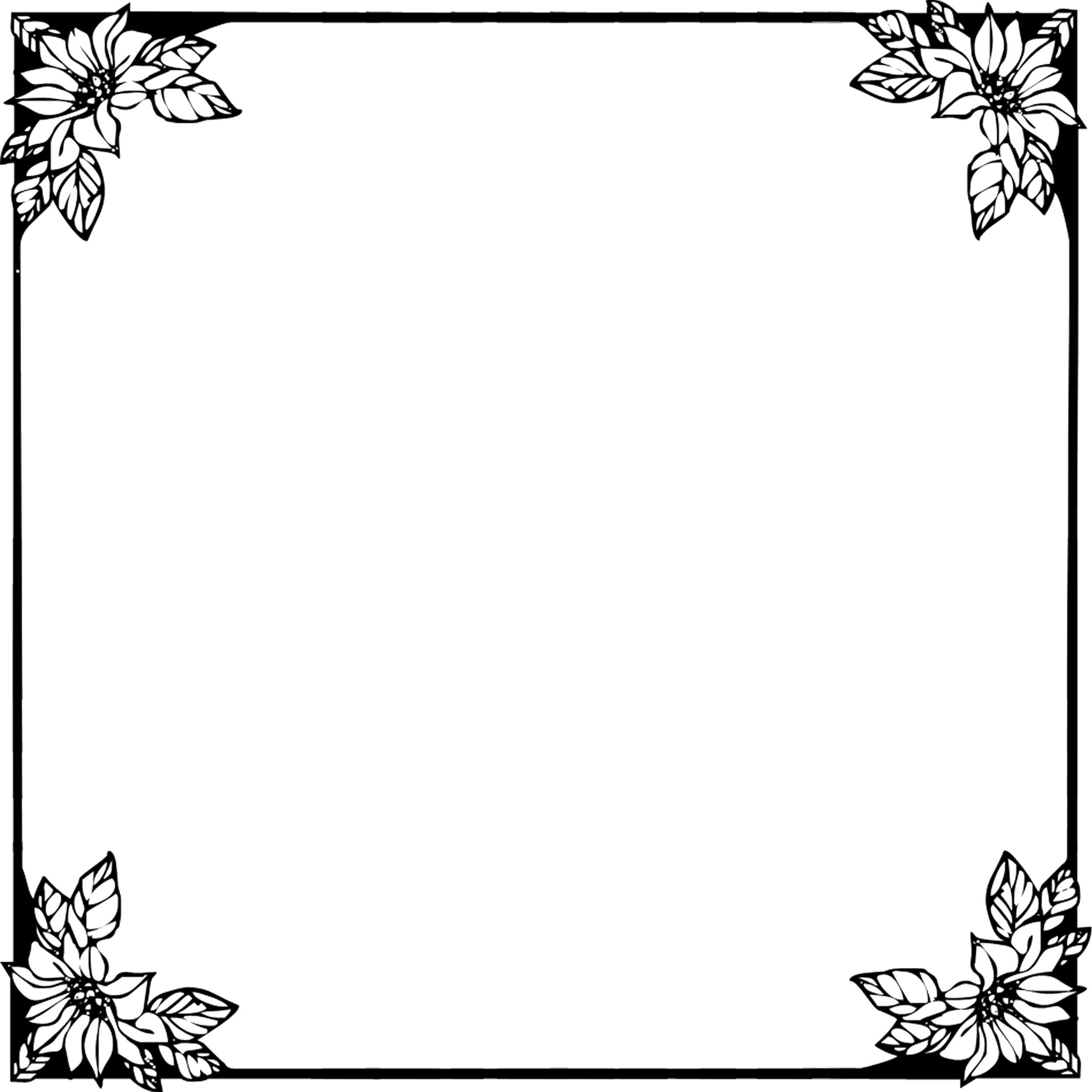 花のイラスト・フリー素材/フレーム枠no.018『白黒・四隅花』