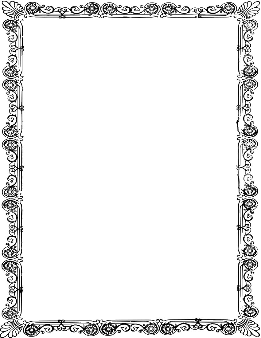 花のイラスト・フリー素材/フレーム枠no.020『白黒・装飾・模様』