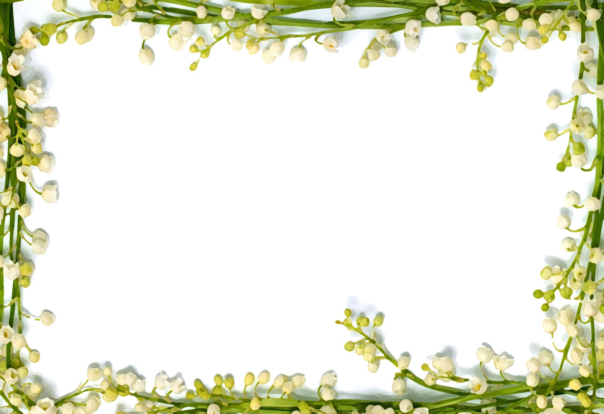 花のイラスト・フリー素材/フレーム枠no.700『スズラン・白・茎の窓』