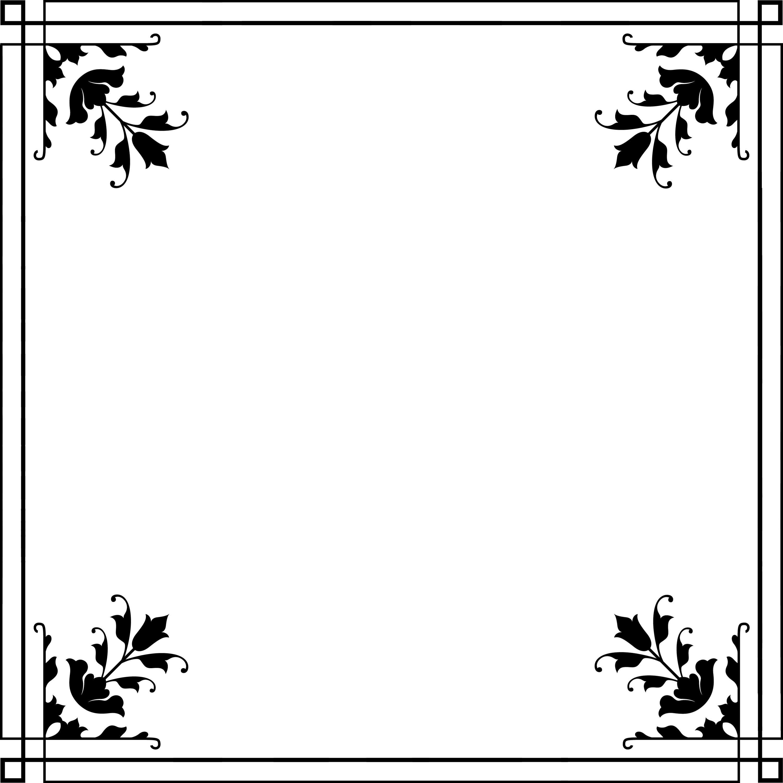 花のイラストフリー素材フレーム枠no22白黒シンプルな模様