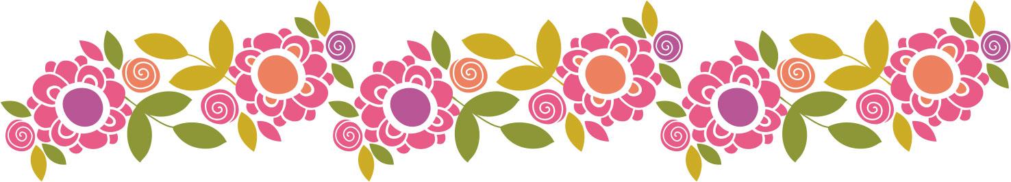 画像サンプル-ポップな花のライン