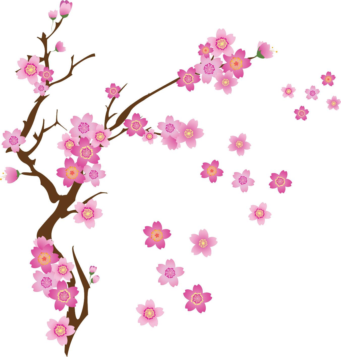 花の無料イラスト素材,舞い散る桜・ポップ
