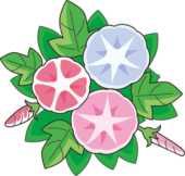 花の無料デザイン画像-朝顔・赤青ピンク