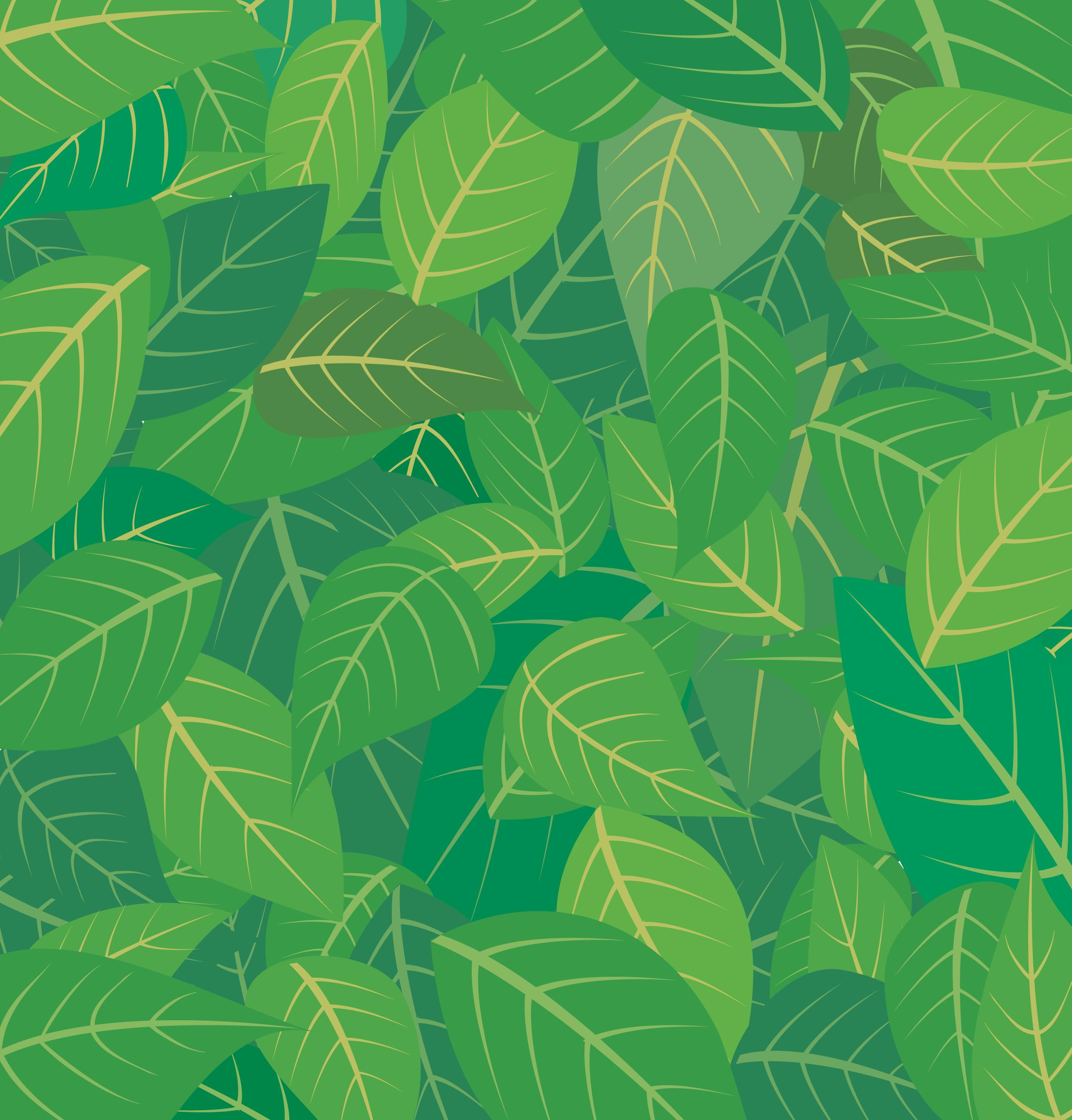 葉っぱや草木のイラスト/壁紙・背景no.043『重なりあう葉・緑