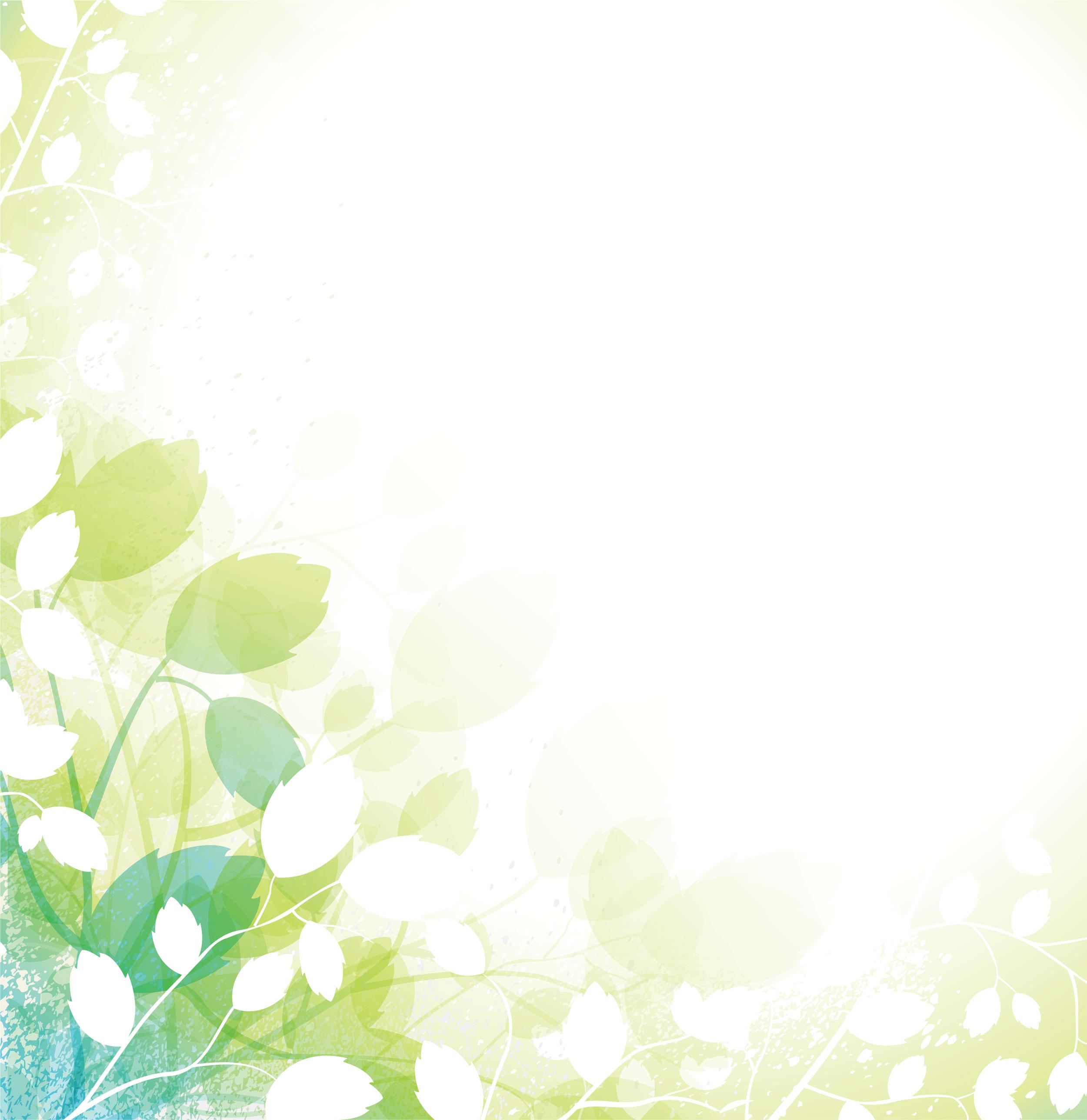 葉っぱや草木のイラスト/壁紙・背景no.053『白と緑の茎葉・淡い』