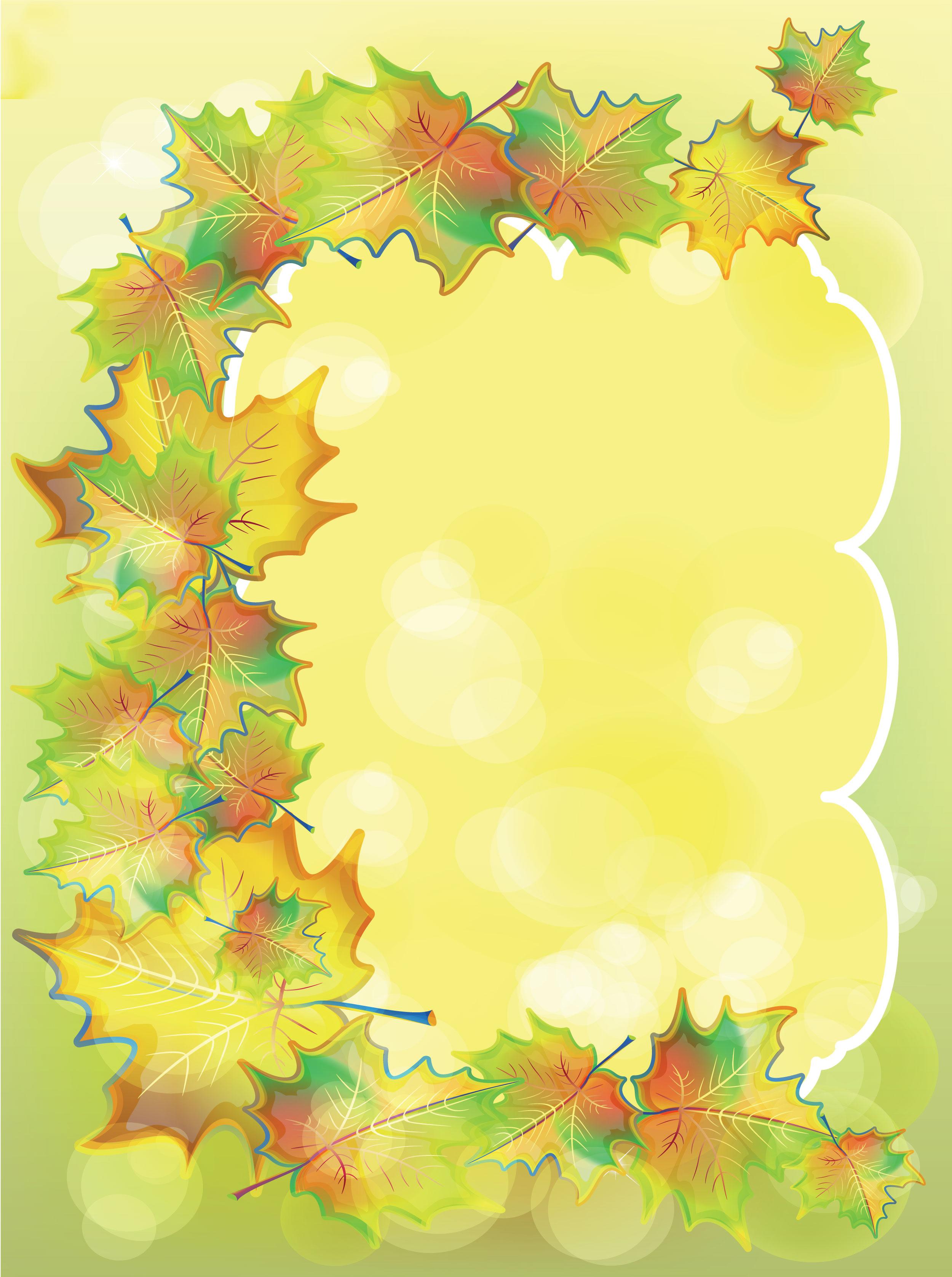 葉っぱや草木のイラスト/壁紙・背景no.102『夏から秋へ・紅葉』