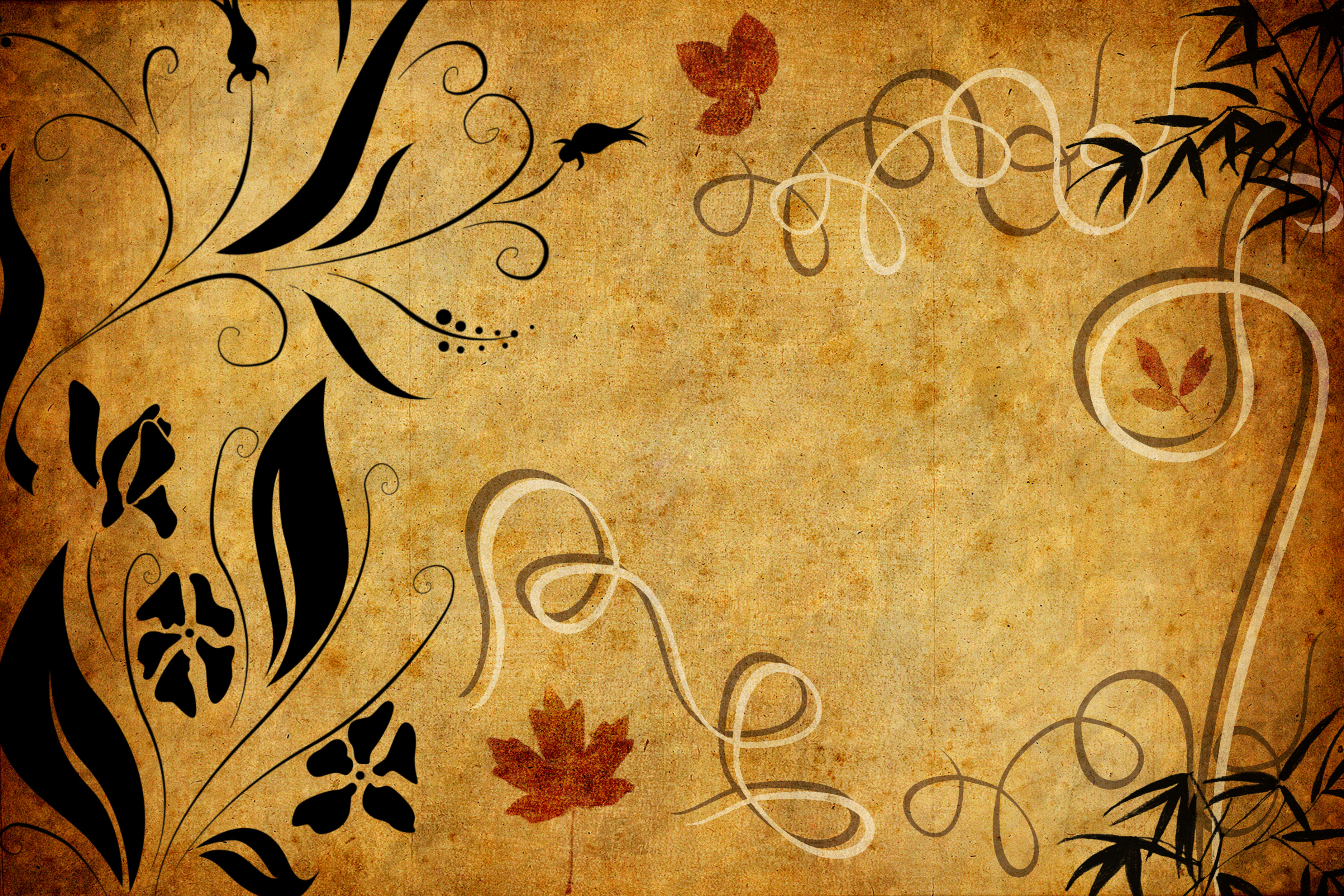 葉っぱや草木のイラスト/壁紙・背景no 134『レトロ調・蝶・曲線』
