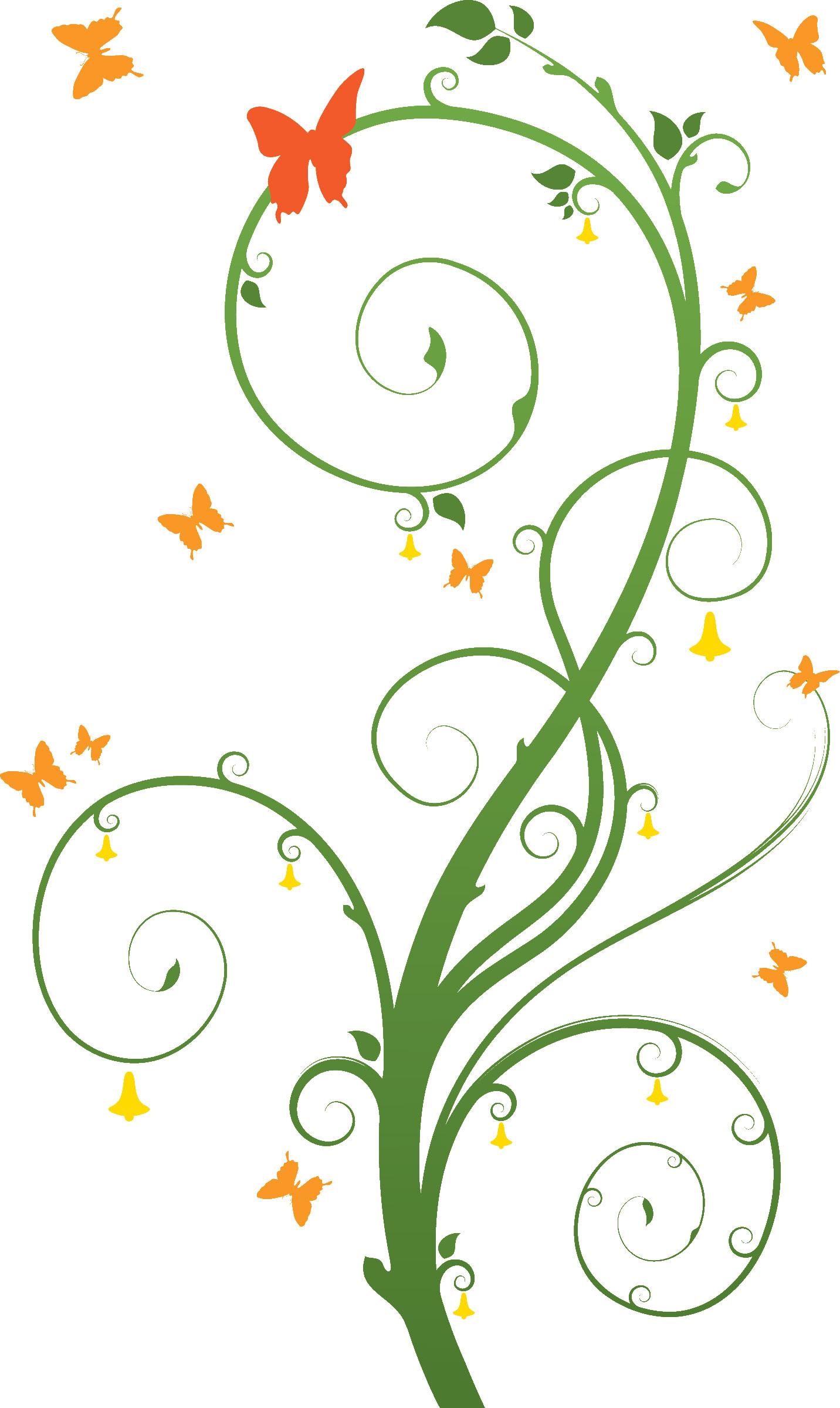 葉っぱや草木のイラスト画像フリー素材no298植物と蝶