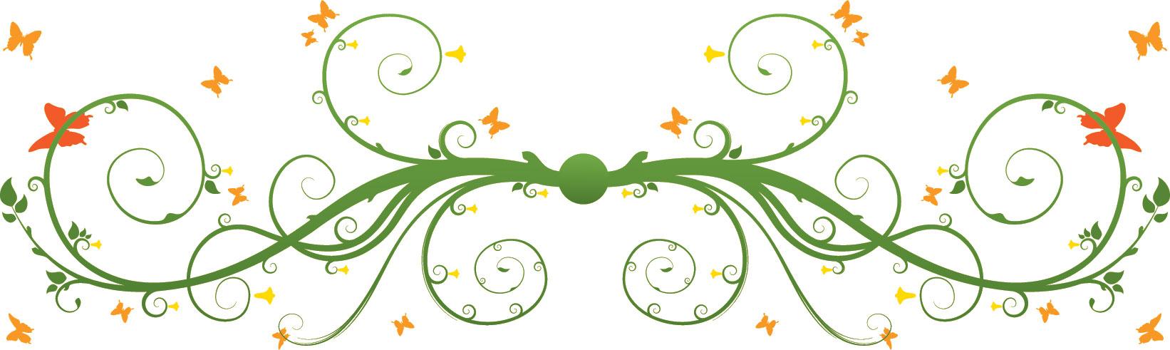 葉っぱ草木のイラストフリー素材フレーム枠no141植物と蝶 横長
