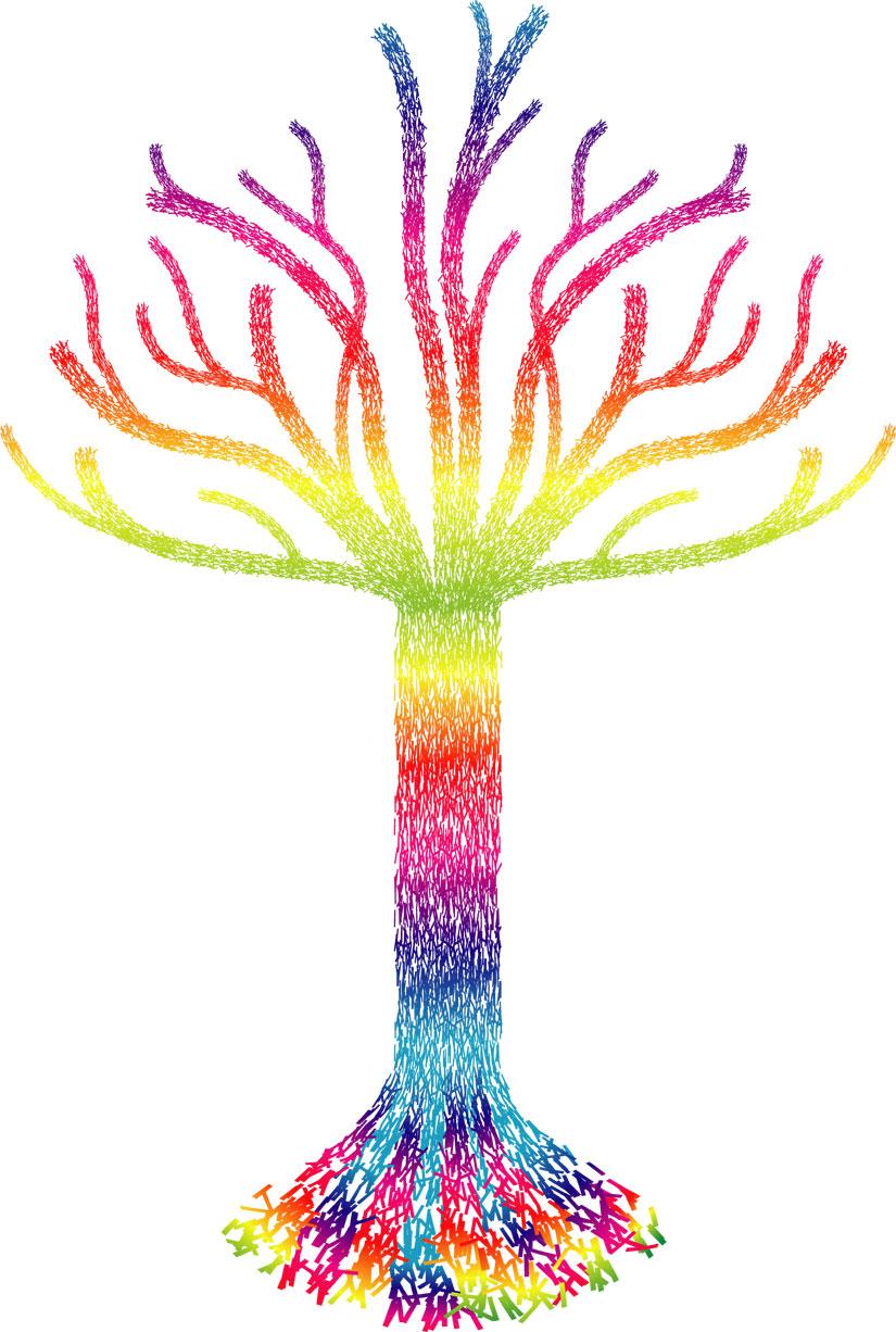 葉っぱや草木のイラスト画像フリー素材no174レインボーツリー