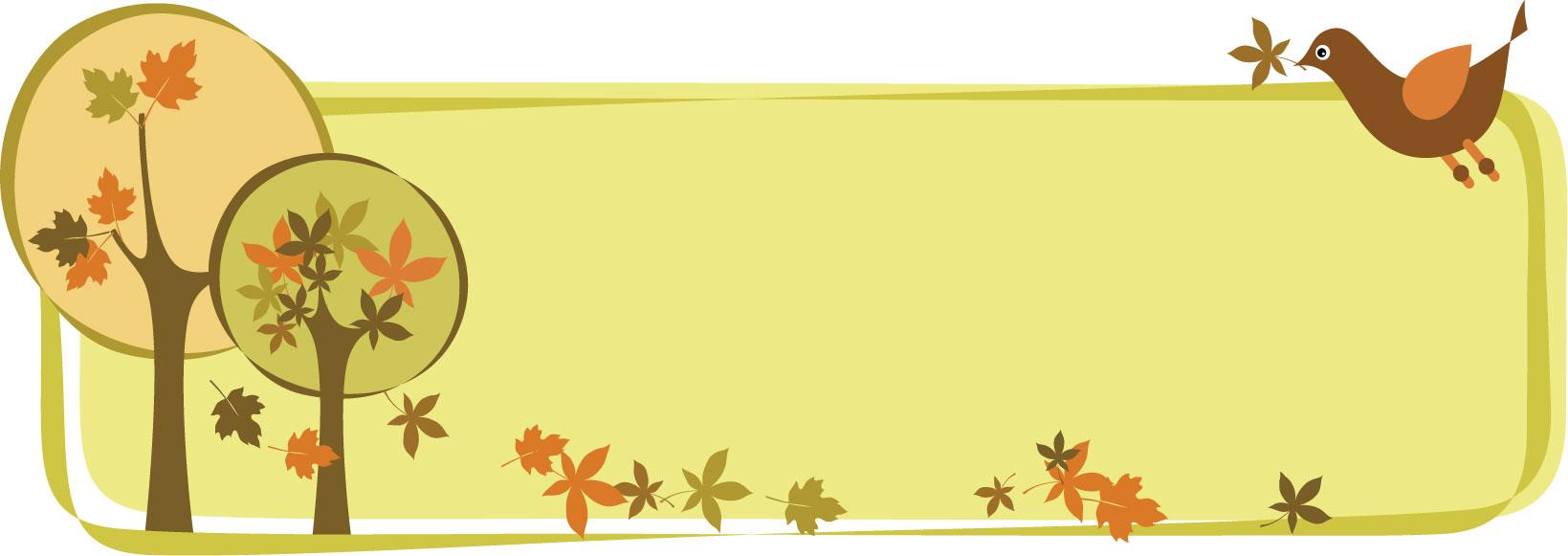 葉っぱ草木のイラストフリー素材フレーム枠no013秋の樹木