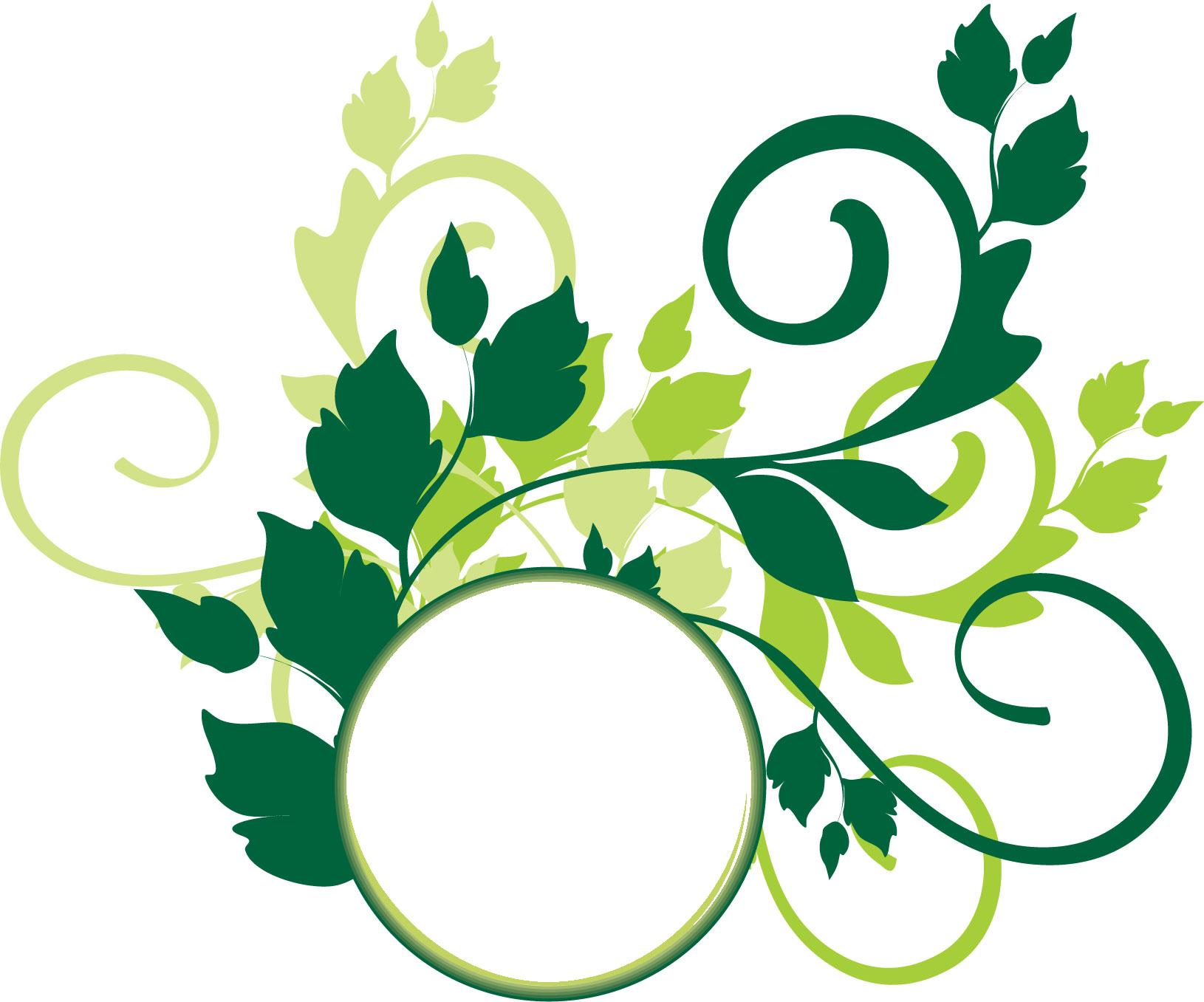 葉っぱ草木のイラストフリー素材フレーム枠no022黄緑3色