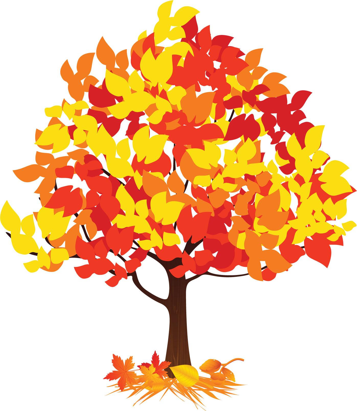 Дерево с осенними листьями картинка для детей, поздравления