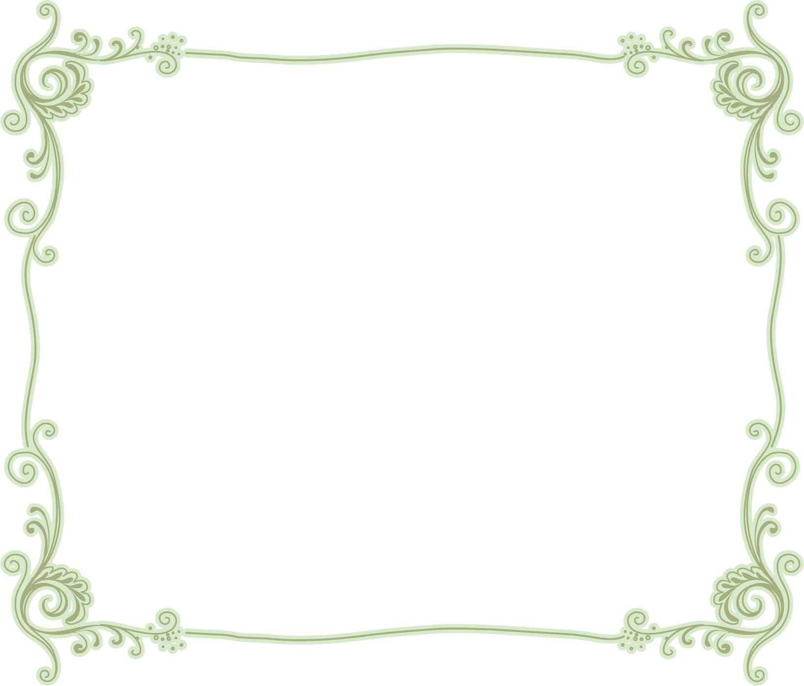 葉っぱ草木のイラストフリー素材フレーム枠no035茎葉蔓緑