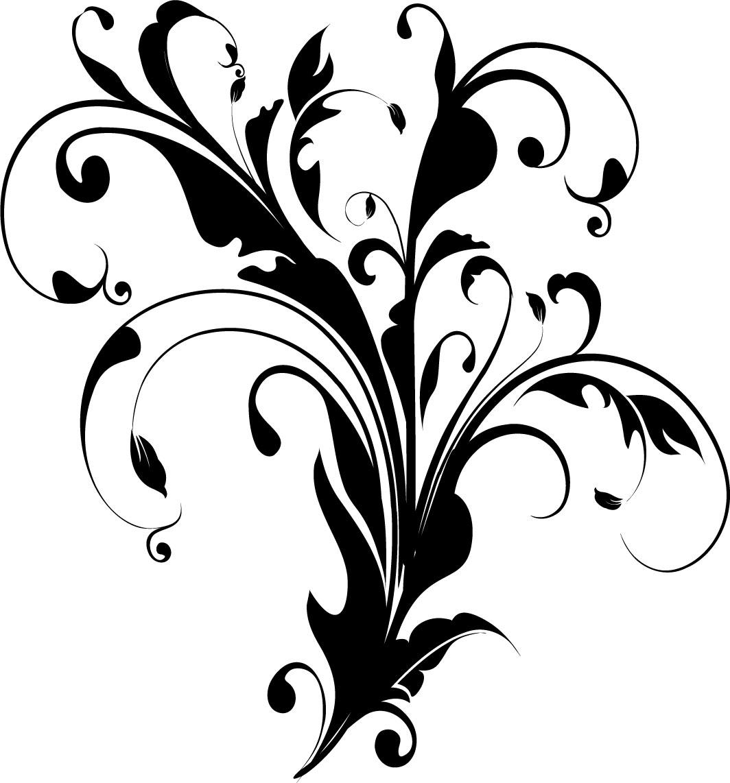 葉っぱや草木のイラスト『白黒・モノクロ4』/無料のフリー素材集