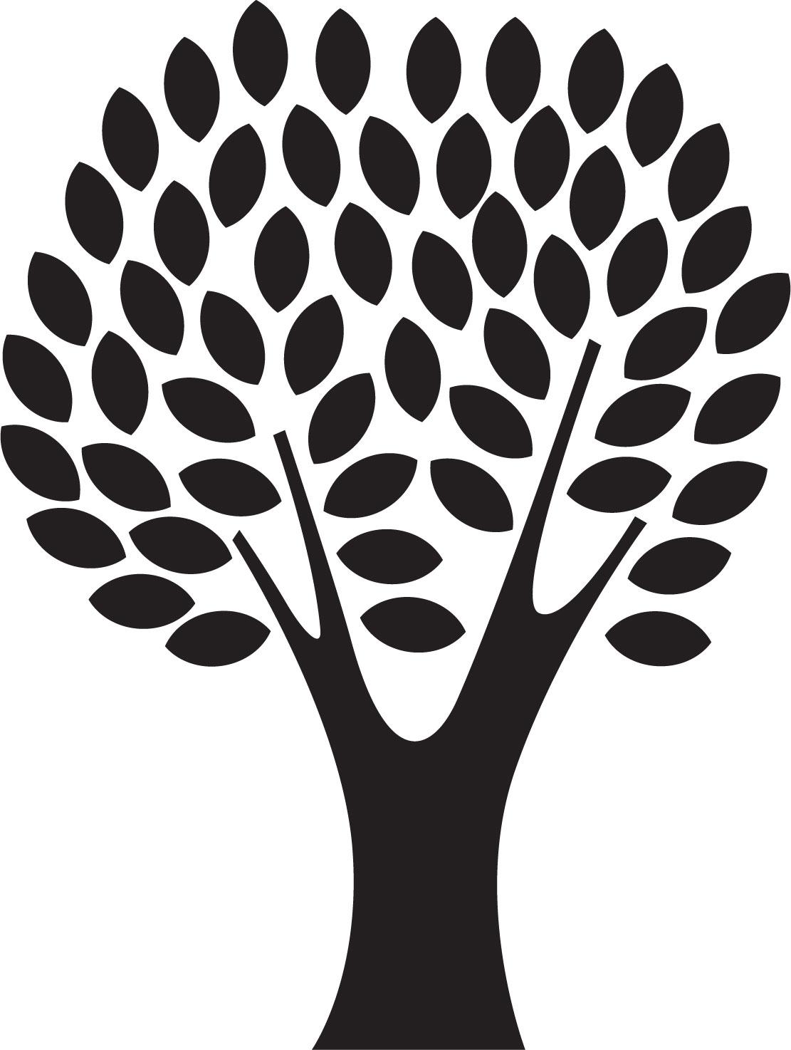 葉っぱや草木のイラスト画像フリー素材白黒no413白黒木枝葉