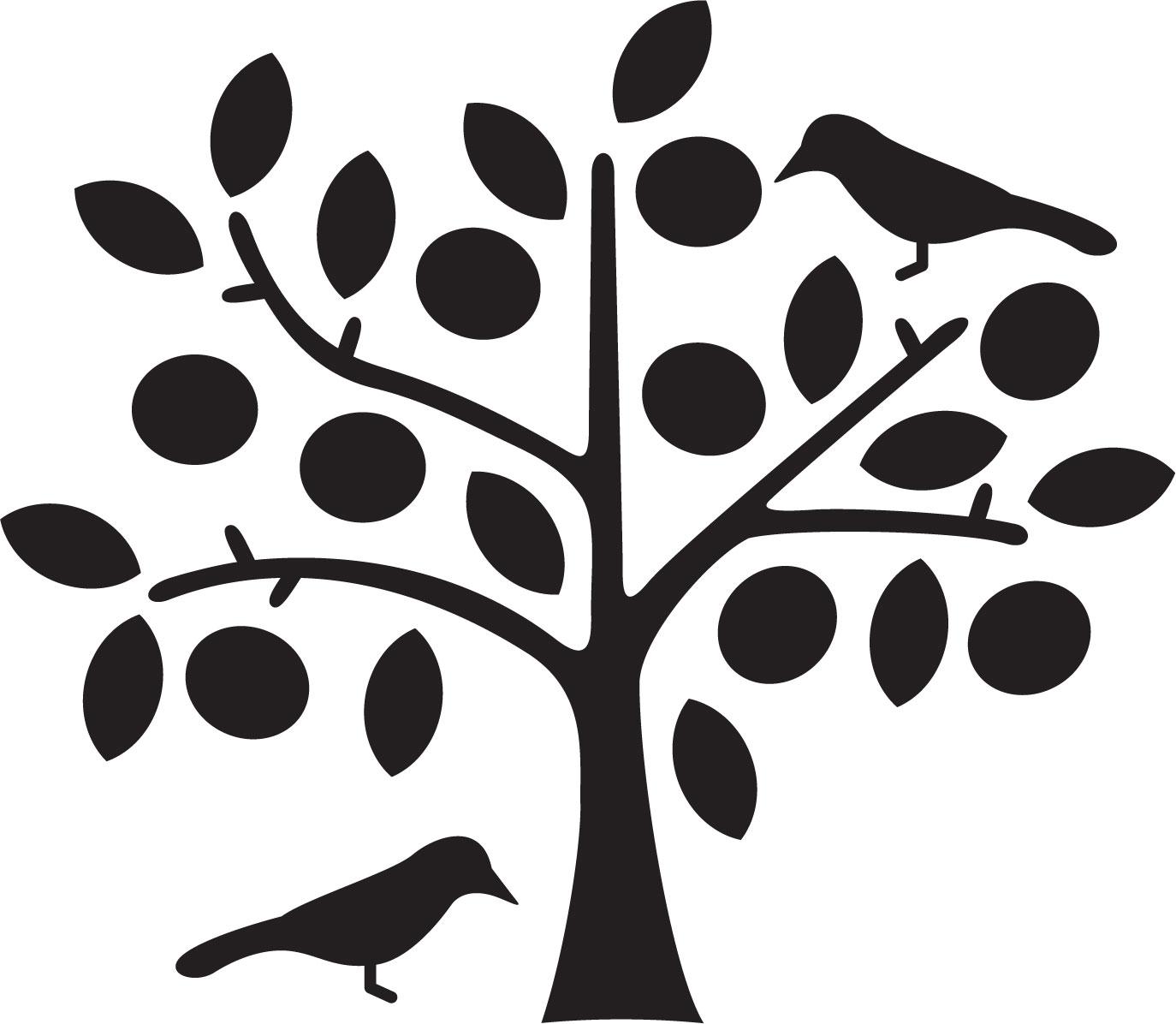 葉っぱや草木のイラスト画像フリー素材白黒no417白黒樹木と鳥