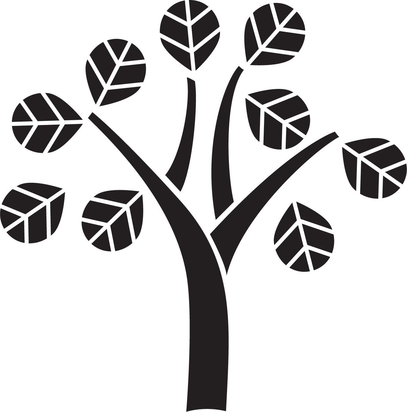 葉っぱや草木のイラスト画像フリー素材白黒no418白黒木枝葉