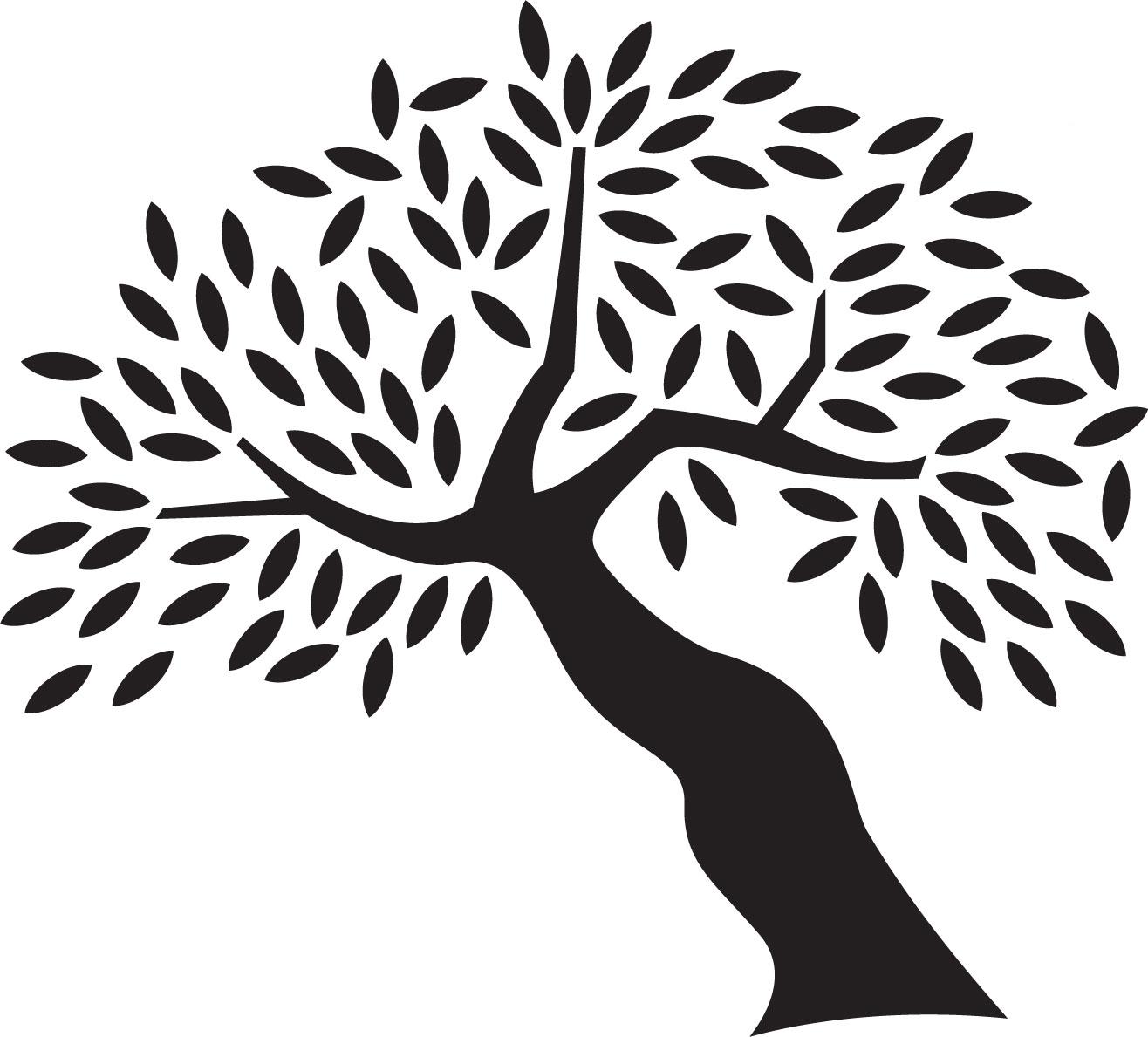 葉っぱや草木のイラスト画像フリー素材白黒no419白黒木枝葉