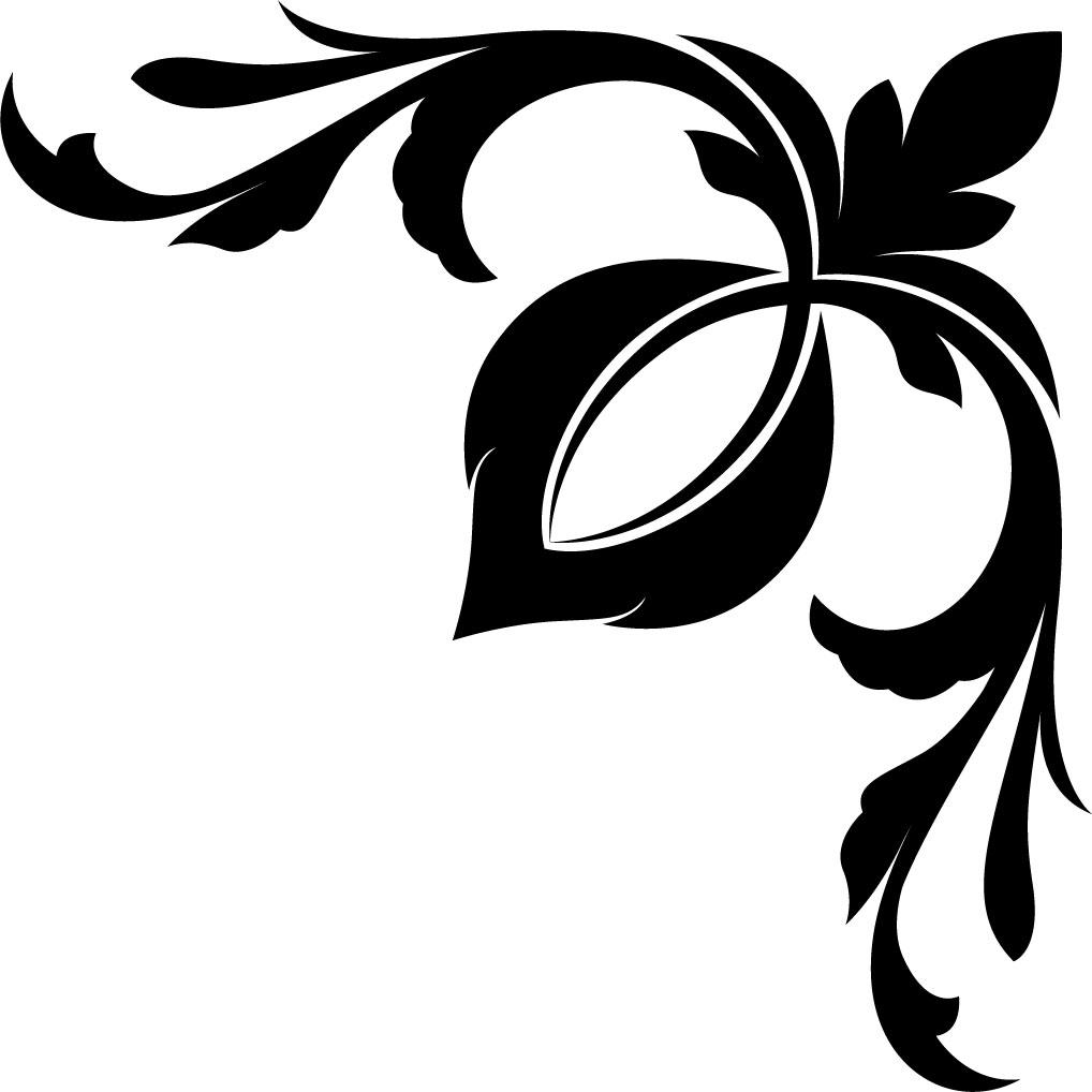 葉っぱ・草木のイラスト・フリー素材 『コーナーライン・角』