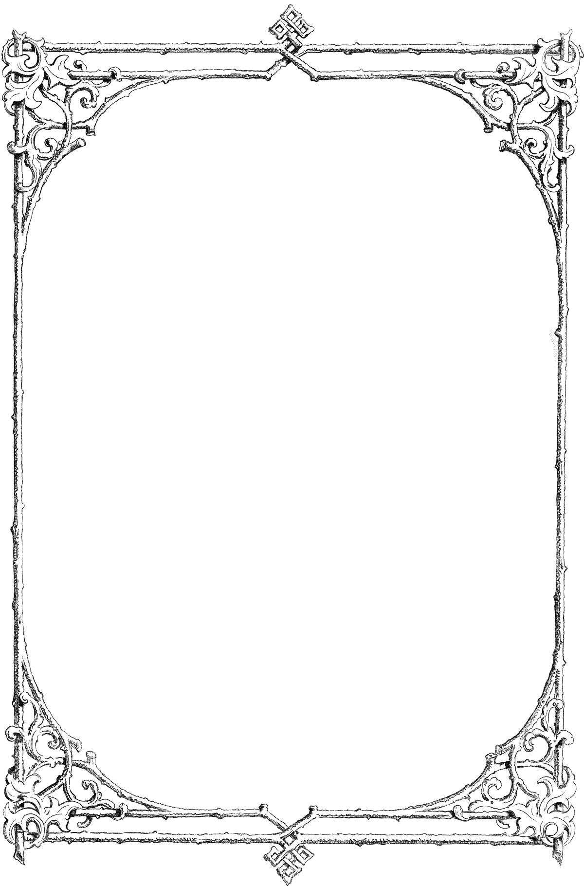 葉っぱ・草木のイラスト・フリー素材/フレーム枠no.104『白黒