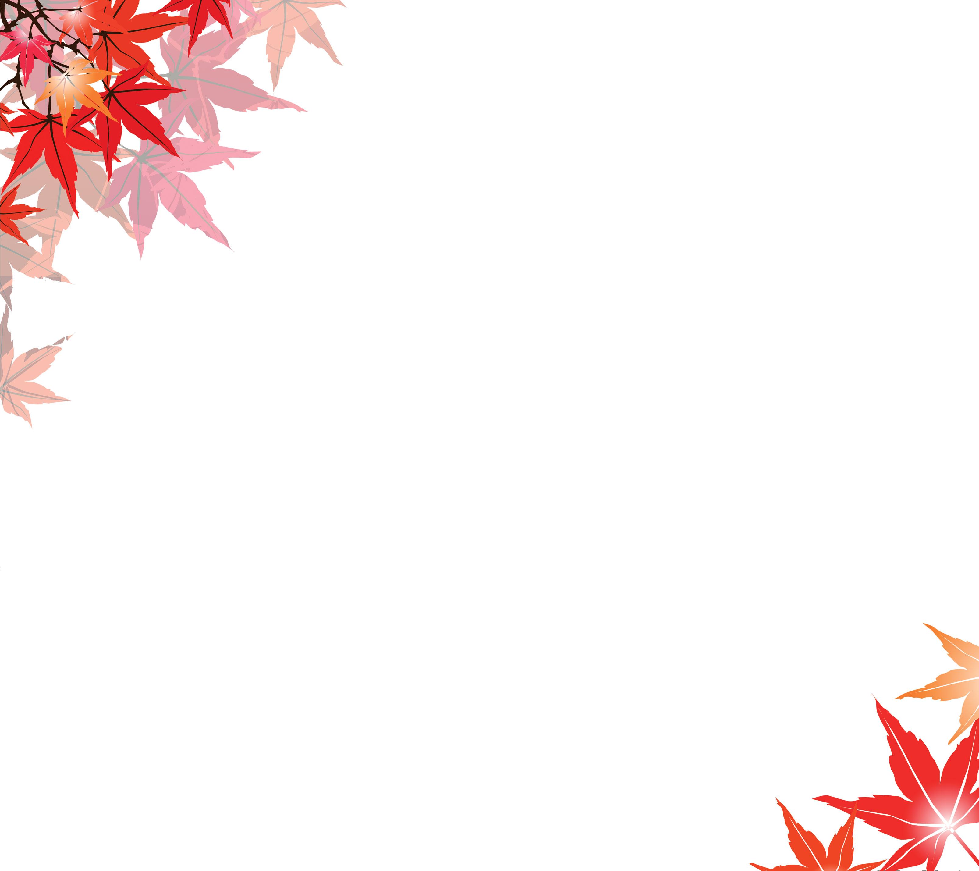 葉っぱ草木のイラストフリー素材フレーム枠no120もみじ赤茶