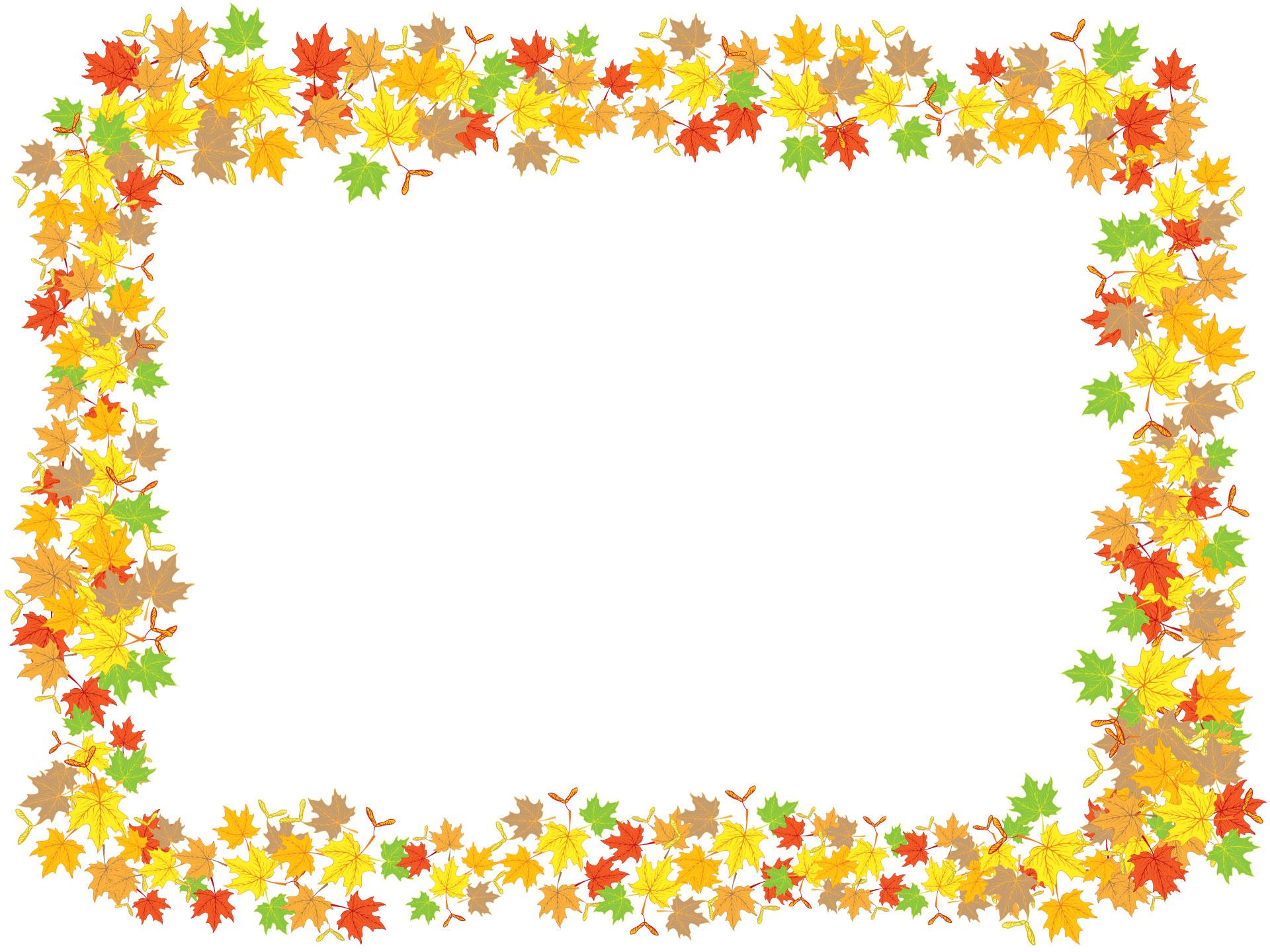 葉っぱ・草木のイラスト・フリー素材/フレーム枠no.124『秋の紅葉